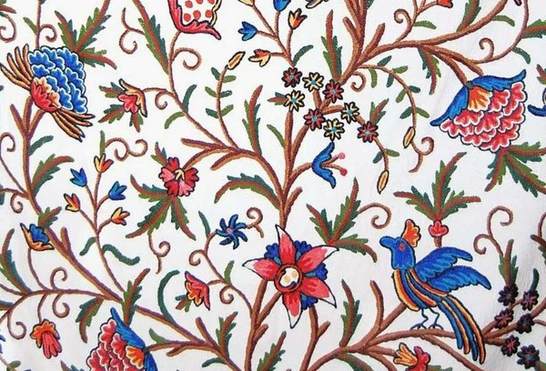 Cotton Crewel Embroidered Fabric Quot Tree Of Life Quot Birds
