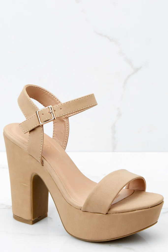 Women s Fashion Shoes   Cute   Trendy Young Women Footwear     Red     Accept The Challenge Nude Ankle Strap Heels