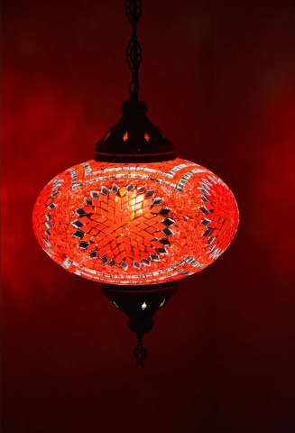 Large Red Glass Tiffany Style Moroccan Mosaic Hanging Lamp     Lamptastic Handmade Turkish Moroccan Style Pendant light large globe glass Moroccan  Lantern