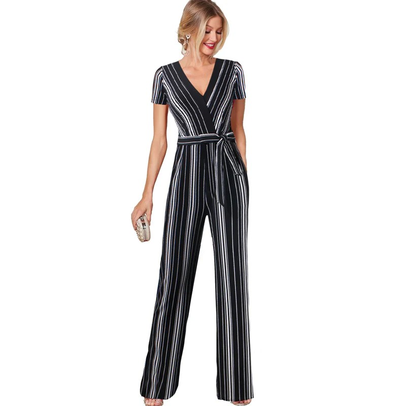 Vfemage Womens Fashion Striped Printed Pocket Wide Leg Evening Party         Vfemage Womens Fashion Striped Printed Pocket Wide Leg Evening Party  Casual Streetwear Long Pants Overalls Rompers