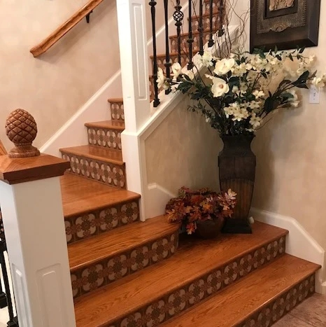 Favorite Stair Riser Tile Designs And Tips – Avente Tile | Wood Stairs With Tile Risers | Grey | Diy | Design | Mosaic | Stone