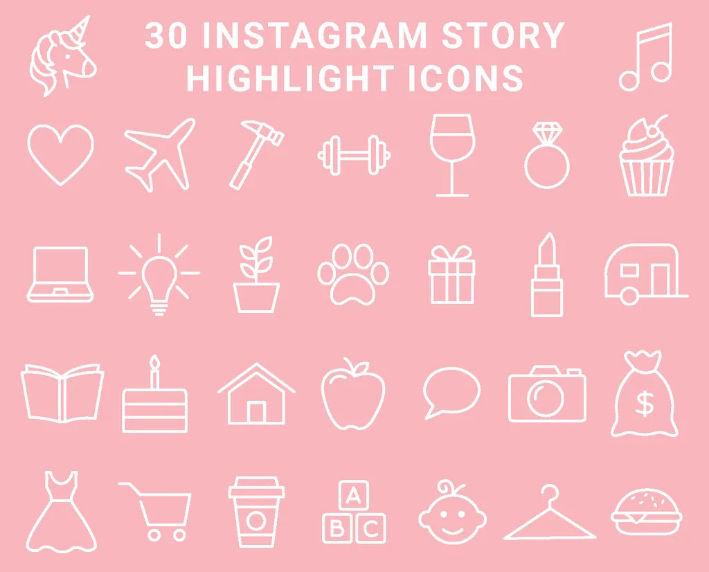 30 Instagram Highlight Icons Blush Pink And White