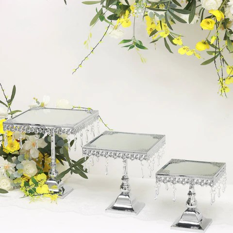 Set of 3   Silver Square Wedding Cake Stand Centerpiece Risers With     Set of 3   Silver Square Wedding Cake Stand Centerpiece Risers With Mirror  Top Tabletop Decoration
