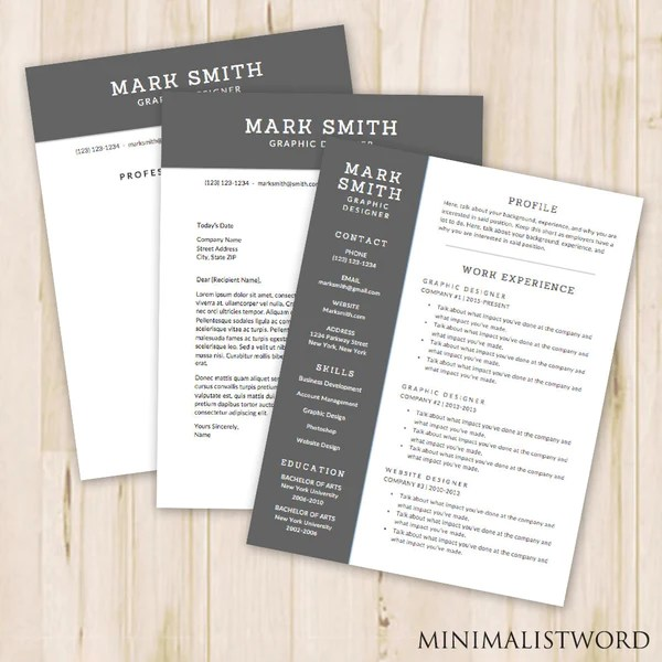 3 Pack Resume  Cover Letter  References Template Word   Modern     3 Pack Resume  Cover Letter  References Template Word   Modern Resume  Template