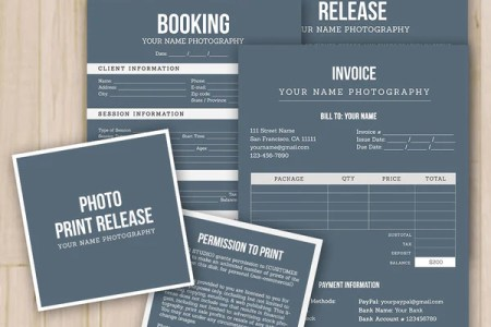 Photographer Forms Templates  Set of 4    Model Release  Print     Photographer Forms Templates  Set of 4    Model Release  Print Release   Booking