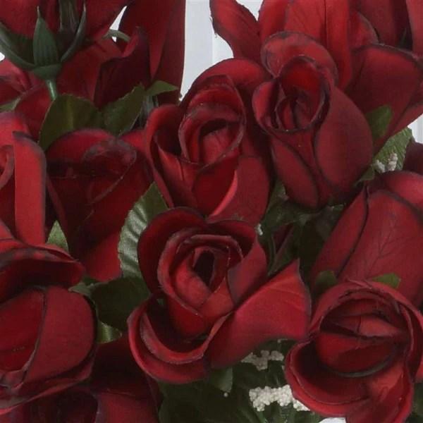 Velvet Rose Buds Black Red 84 Pk Silk Flowers Factory
