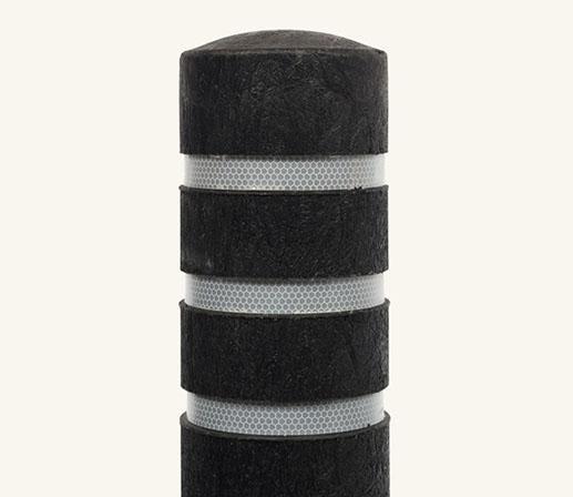 Rhino Recycled Black Plastic Bollard With 3 Reflective