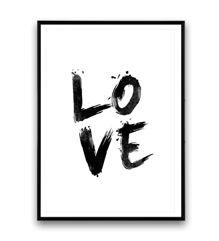 Image of: Inspirational Quotes Love Print Handwritten Letter Print Black And White Art Quote Poster Wallzilladesign Wallzilla Love Print Handwritten Letter Print Black And White Art Quote