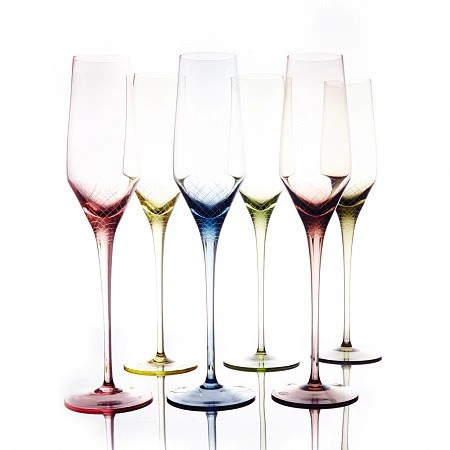 Sera-Irida 6 pcs color crystal champagne flute set – Mateo ...