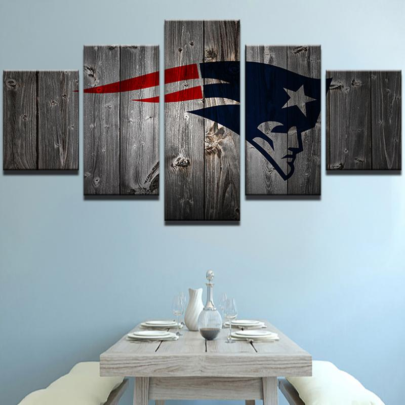 5 Piece New England Patriots Football Canvas Wall Art Paintings Sale     5 Piece New England Patriots Football American Canvas Painting Wall Art    It Make Your Day