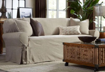 Couch Covers   Sofa Slipcovers     SureFit Textured Linen One Piece Sofa Slipcover