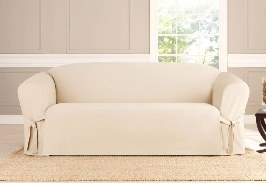 Heavyweight Cotton Duck One Piece Sofa Slipcover   SureFit Heavyweight Cotton Duck One Piece Sofa Slipcover