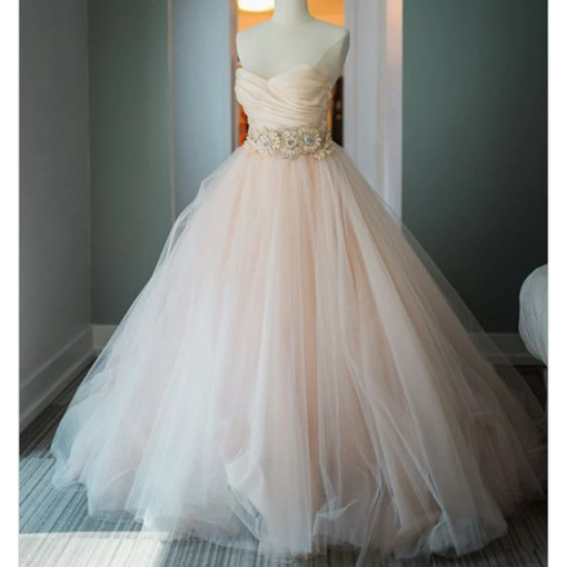 Blush Pink Sweetheart Ball Gown Princess Wedding Dresses with     Blush Pink Sweetheart Ball Gown Princess Wedding Dresses with Beading Belt