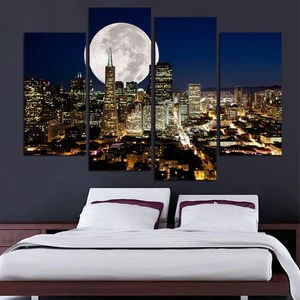 New York Moon Wall Art  New York Moon Large Canvas Art  New York     New York Moon Wall Art  New York Moon Large Canvas Art  New York Moon