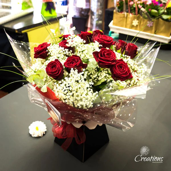 Romantic Rose Bouquet Hand Tied   Red Roses   Creations Flowers Romantic Rose Bouquet Hand Tied   Red Roses