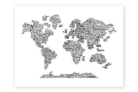 Map of the world print free interior design mir detok watercolor map of the world map prints by michael tompsett watercolor map of the world map animal map of the world art print by michael tompsett art com gumiabroncs Choice Image