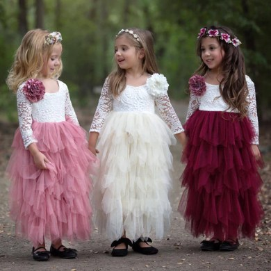 Girl Princess First Communion Dress Lace Tiered Tulle Long Sleeves         Girl Princess First Communion Dress Lace Tiered Tulle Long Sleeves  Wedding Party Gown Wholesale Flower Gril