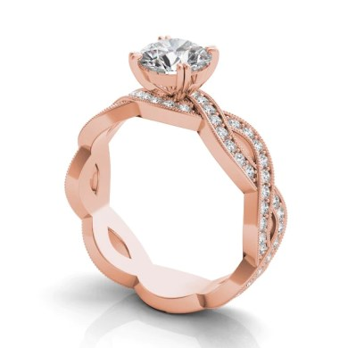 14k Rose Gold Diamond Criss Cross Engagement Ring Setting     Five         14k Rose Gold Diamond Criss Cross Engagement Ring Setting