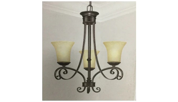 Hampton Bay 14708 Bayessex 3 Light Aged Black Chandelier