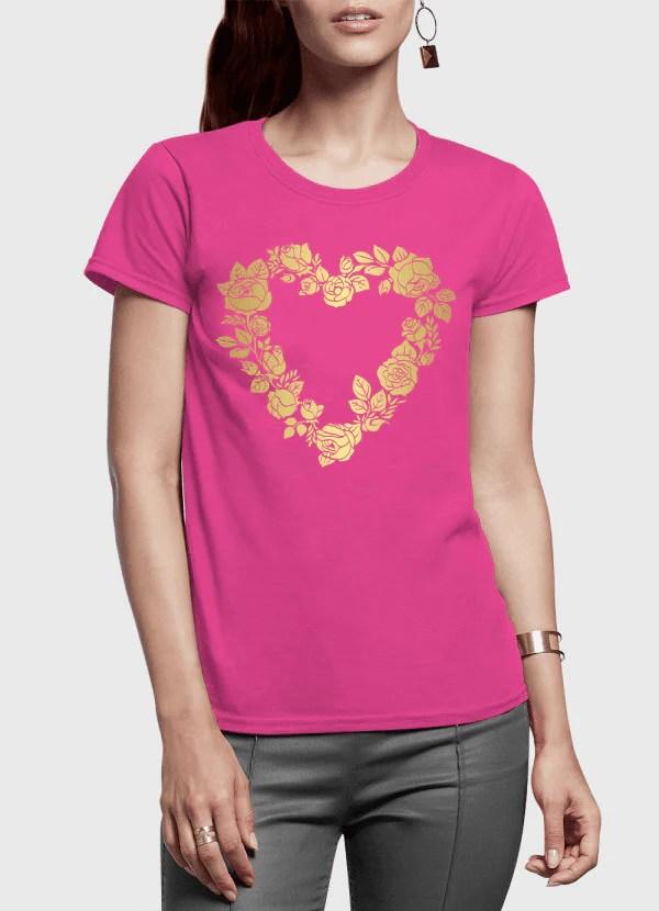 59a9537b79f Flowers Heart Half Sleeves Women T Shirt Rhizmallpk Online