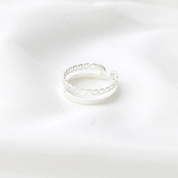 Sterling Silver Chain Double Band Ring   Serendipity in Seoul Sterling Silver Chain Double Band Ring