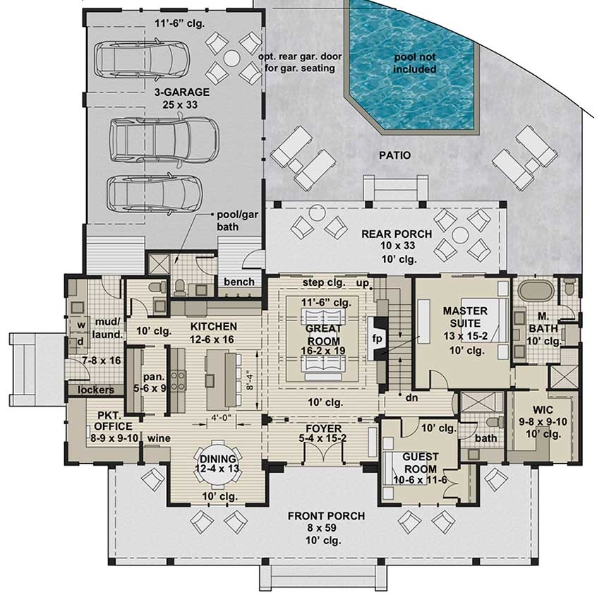 Silverbell Ranch House Plan Modern Farmhouse Two Story Home | Center Staircase House Plans | Georgian House | Spiral | Split | Room | Contemporary