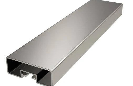 Modern Square Flat Wall Mounted Stair Railing In Aluminum | Modern Stair Handrail Wall Mounted