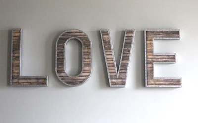 Large Nailhead  Metal  Letters   Faux Wood Letters   House of Crazi Large Love Sign  Wooden  Letters with