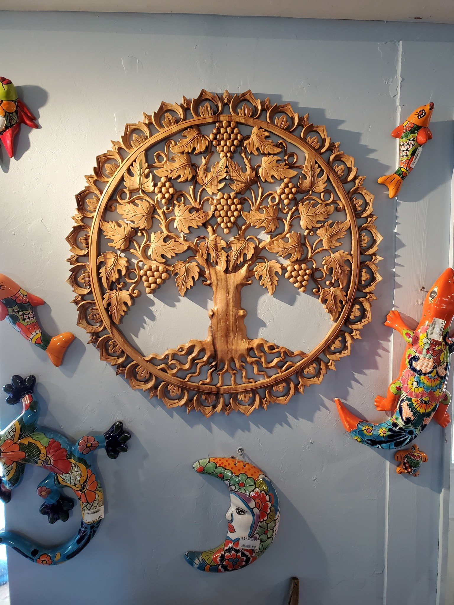 Carved Wood Tree Of Life Pottery As Art