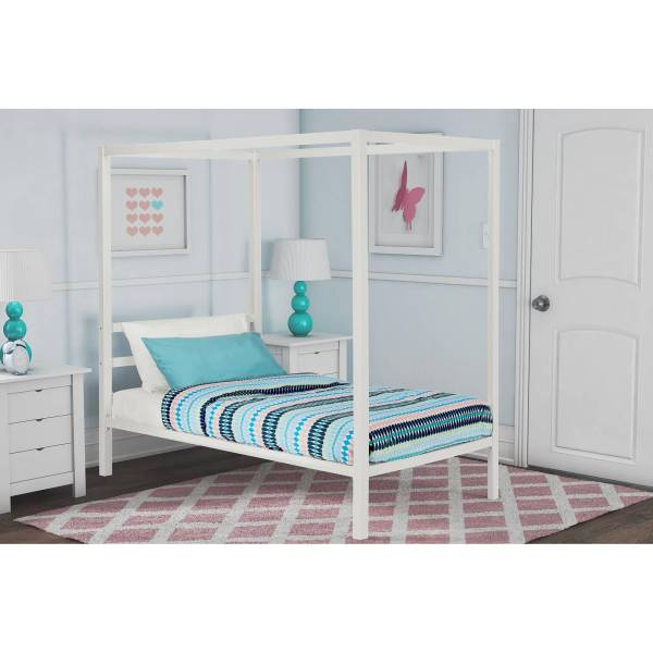DHP Modern Metal Twin Canopy Bed in White   eBay Image is loading DHP Modern Metal Twin Canopy Bed in White