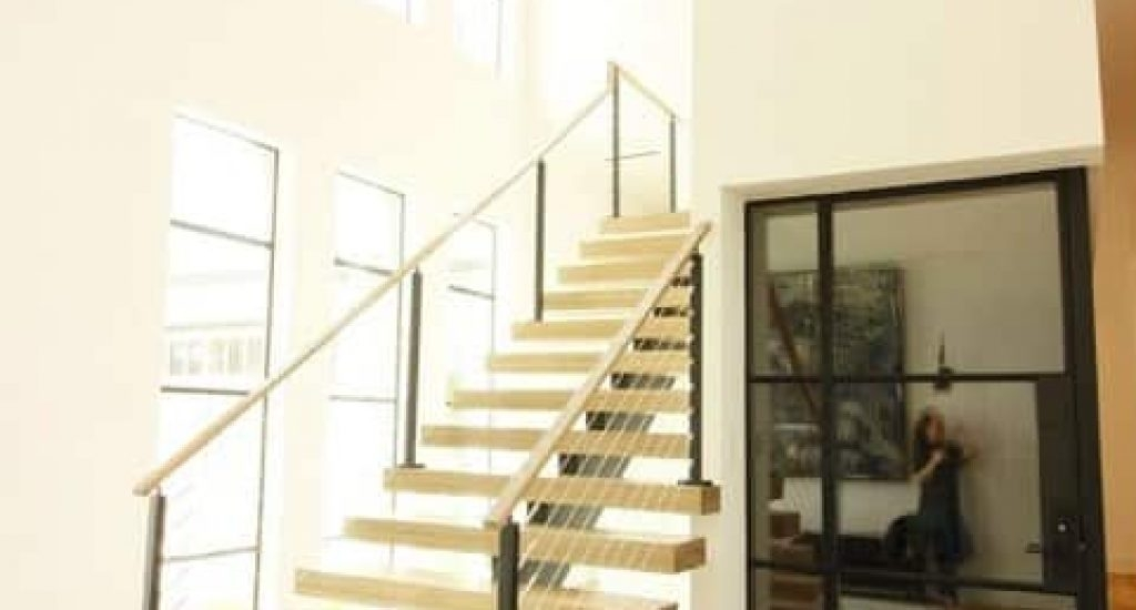 A Favorite Indoor Cable Railing Project Railfx Blog | Modern Cable Stair Railing | Stainless Steel Stair | Railing Systems | Glass Railing | Entry Foyer | Staircase Remodel