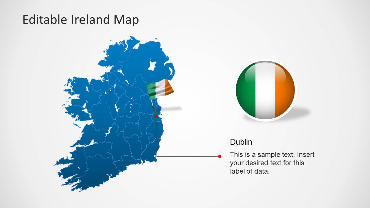 Editable Ireland Map Template for PowerPoint   SlideModel Editable Ireland Map Template for PowerPoint  Previous  Next