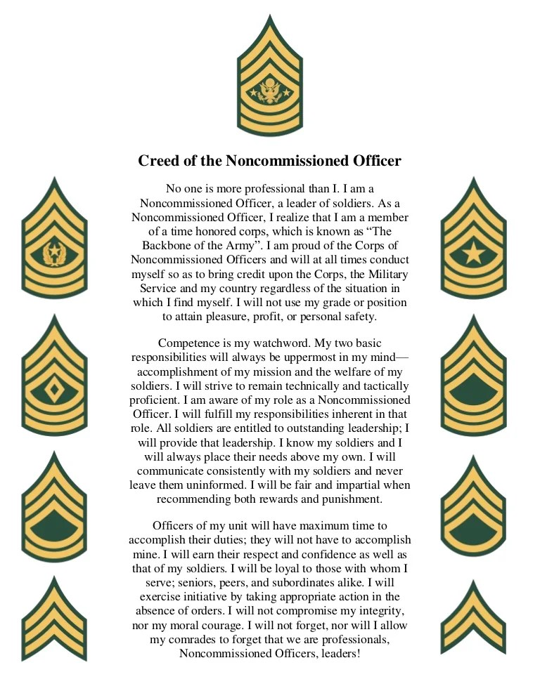 Creed Army Nco Powerpoint Printable