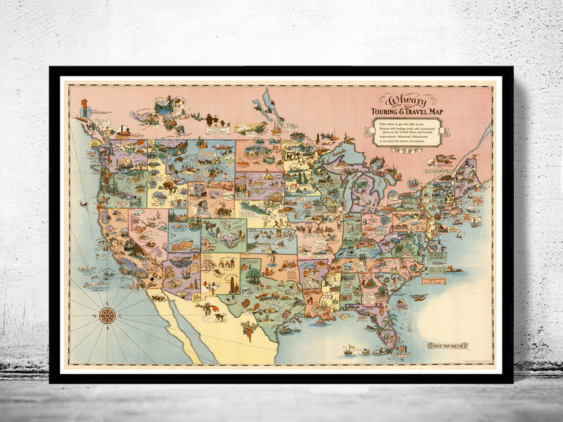 Vintage Map of United States America  Recreational Touring   Travel     Vintage Map of United States America  Recreational Touring   Travel Map  1928   product image