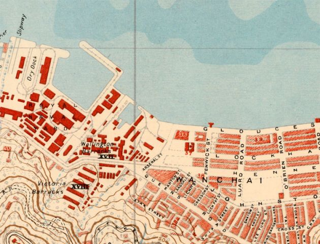 Vintage Map of Victoria Hong Kong 1930   OLD MAPS AND VINTAGE PRINTS Vintage Map of Victoria Hong Kong 1930   product image