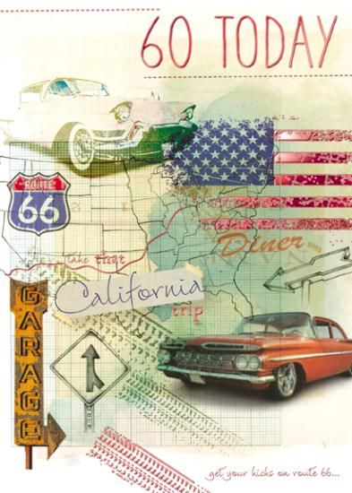 Route 66 60th Birthday Card Karenza Paperie
