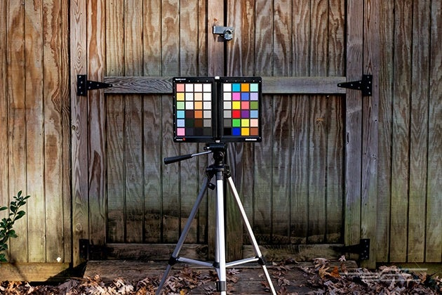 The Best Camera Lens Filters  Flashes  and Accessories for Taking     color board on tripod outside in front of wooden fence