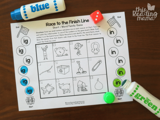 Print and Play Word Family Games   This Reading Mama IG and IN word family game board   roll and dot by word family chunk