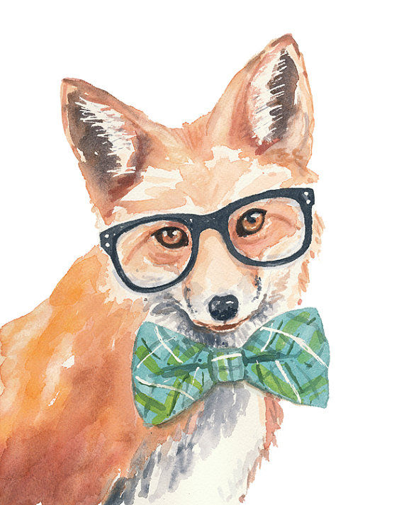 Whimsical Hipster Animal Watercolors : animal watercolor ...