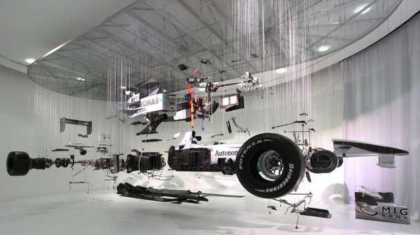 Deconstructed Racecar Displays Suspended Mercedes Benz