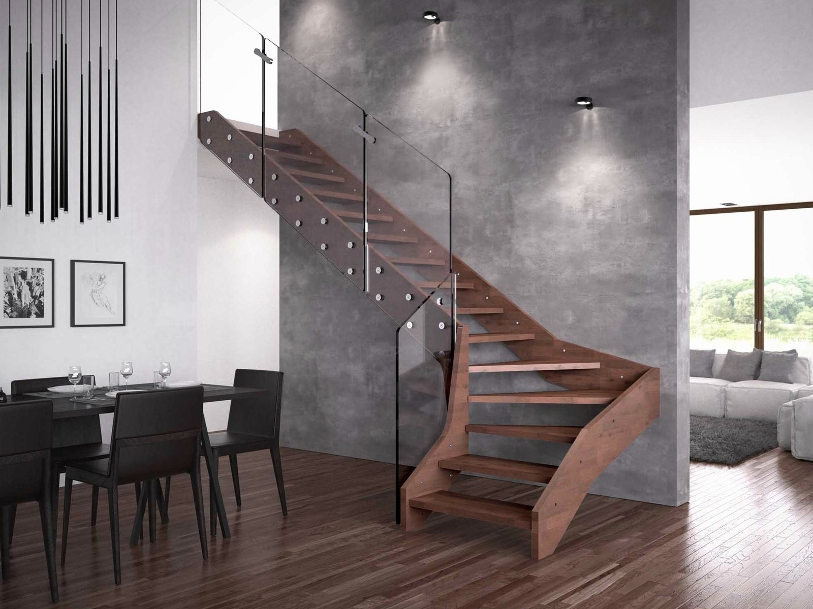 Contemporary Open Wooden Frame Staircases With Glass Railing By   Staircase Wood And Glass   Commercial Wood   New   Ash Wood   Simple Glass   Glass Bal