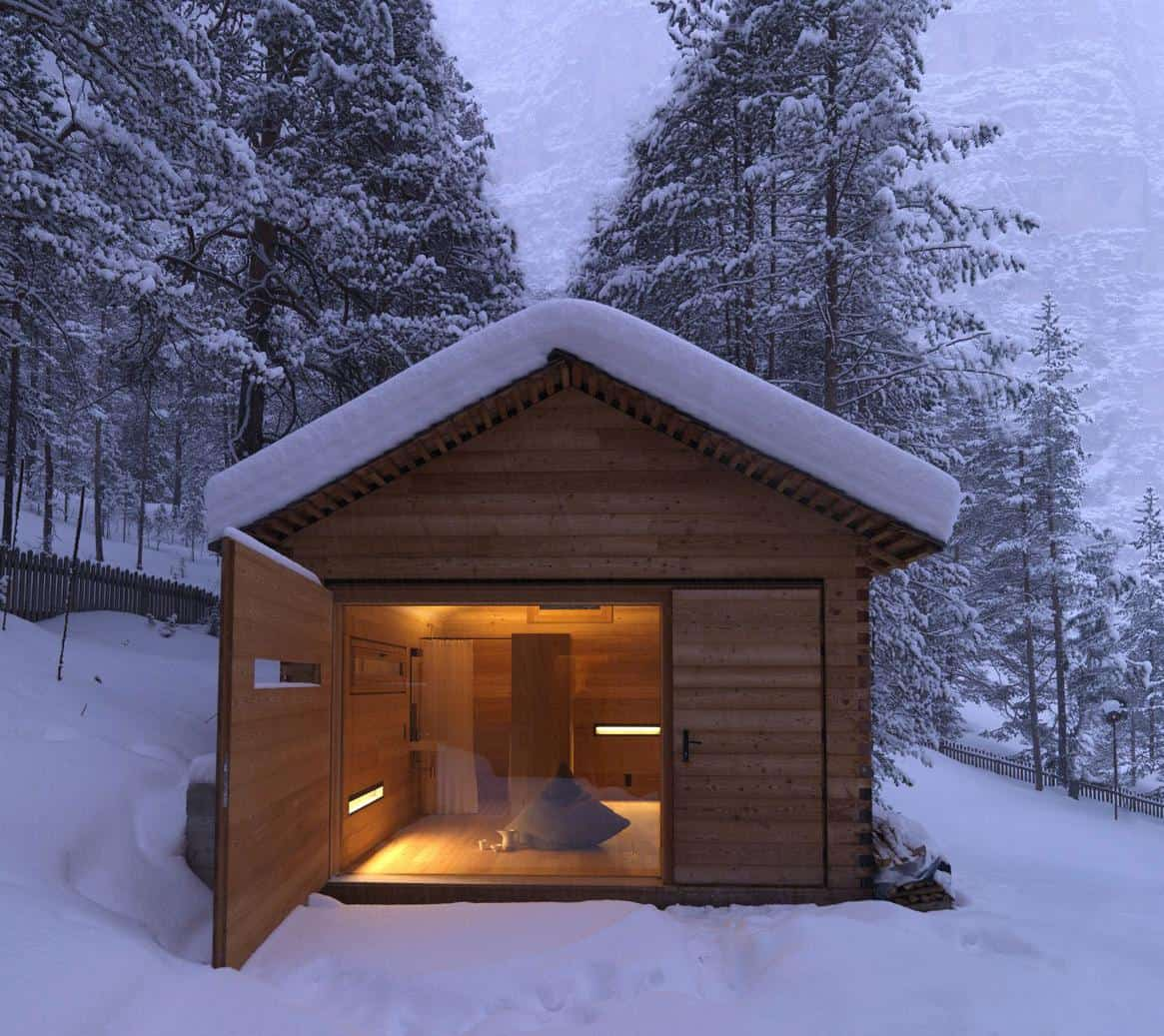 Cozy Mountain Cabin Can Open Up To The Elements