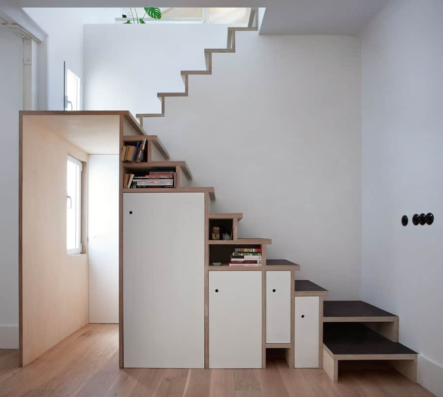 Space Saving Stair Storage Design In Plywood | Space Saving Stairs Design | Storage | Small Space | Cute | Low Cost | 2Nd Floor Small Terrace Concrete