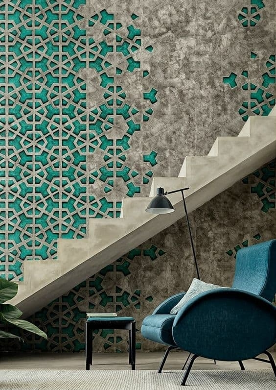 Colorful Staircase Designs 30 Ideas To Consider For A Modern Home | Stairs Wall Tiles Design | Main Entrance Wall Tile | Exterior | Two Story House Stair | Wall Flat | Residential
