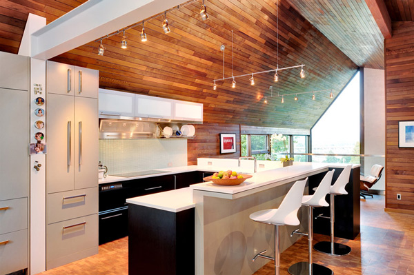 Kitchen With Wooden Walls And Ceiling