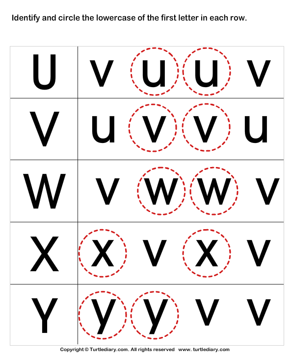 V Lowercase Letter Worksheets