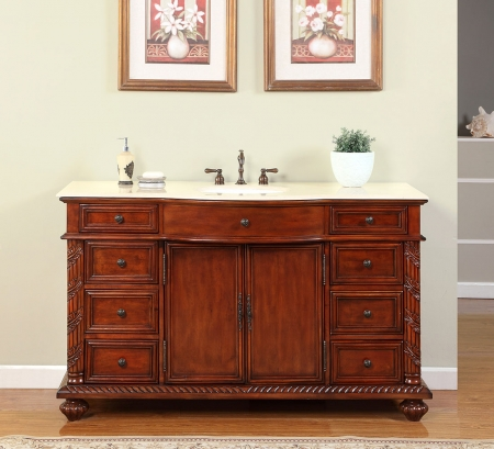 60 Inch Single Sink Bathroom Vanity With Cream Marble