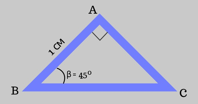 Tiangle ABC, AB = 1 және ∠β = 45º, ∠𝐴 Direct