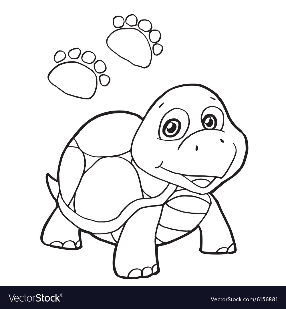 Paw Print With Turtle Coloring Pages Royalty Free Vector