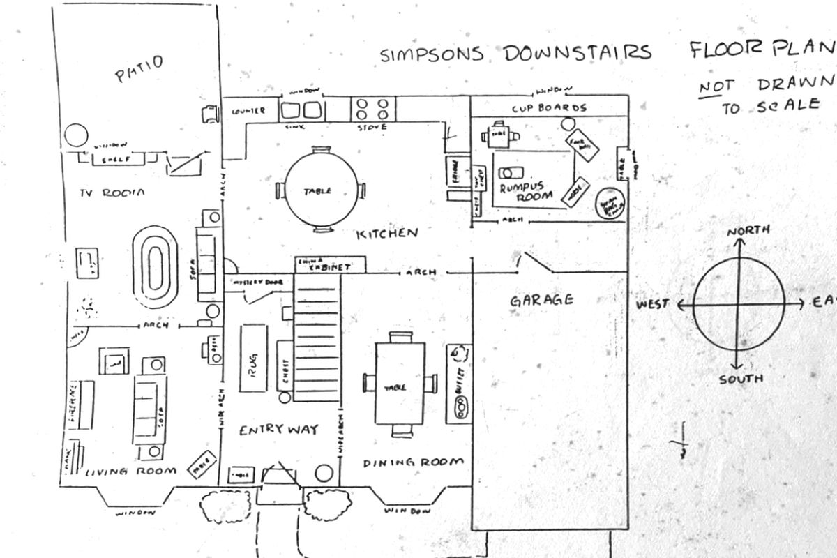 The Simpsons Official House Floor Plan Released By Former Writer | Basement Stairs In Garage | Deck | Outside | Back | Epoxy Coating | Easy Diy